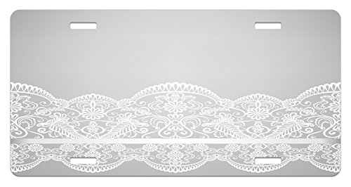 Renaissance Paisley - Lunarable Grey License Plate, Victorian Fashion Style Wedding Ethnic Mesh Paisley Motif Renaissance Kitsch Artwork Print, High Gloss Aluminum Novelty Plate, 5.88 L X 11.88 W Inches, White