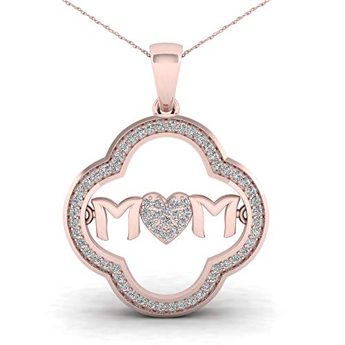 De Couer IGI Certified10K Rose Gold 1/5ct TDW Diamond Mom Heart Necklace (I-J, I2)