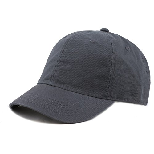 (The Hat Depot Kids Washed Low Profile Cotton and Denim Plain Baseball Cap Hat (6-9yrs, Charcoal))