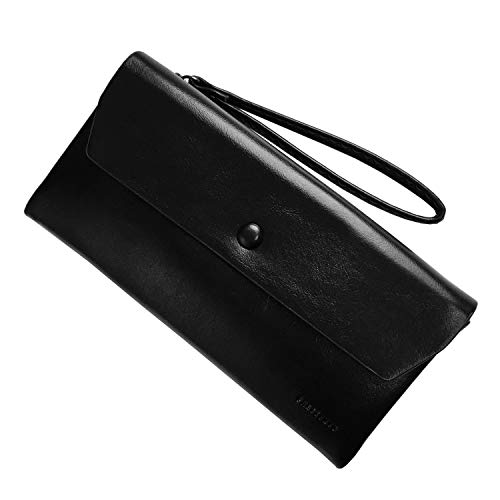 Rfid Women's Wallets Ladies Clutch Leather Wristlet Card Phone Organizer Zipper Purse (Black2) ()