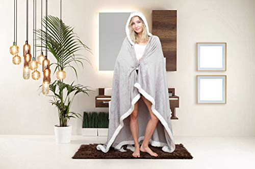 - Chic Home Abaddon Snuggle Hoodie Robe Cozy Super Soft Ultra Plush Flannel Wearable Blanket Sherpa Trim with 2 Pockets Hood Button Closure, 58