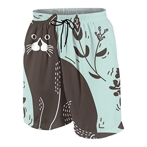 ACHOGI Cat Lithograph Men's Swim Trunks Beach Surfing Shortswith Pockets