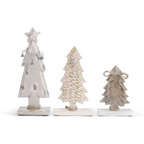 Demdaco White Washed Wood Tree Figures - Set of 3