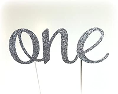 Handmade 1st First Birthday Cake Topper Decoration - One - Made in USA with Double Sided Glitter Stock