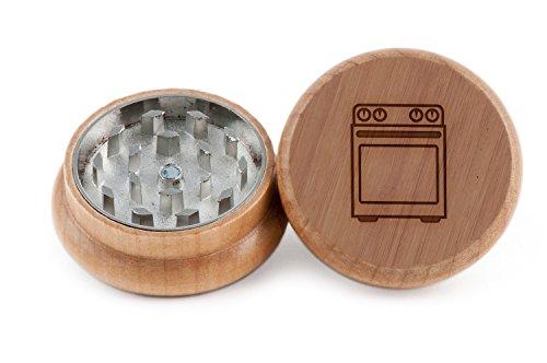 GRINDCANDY Spice And Herb Grinder - Laser Etched Oven Design - Manual Oak Pepper Grinder by GrindCandy