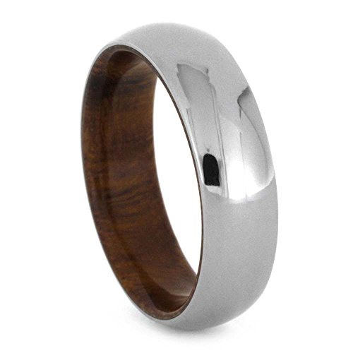 Polished Titanium Dome 6mm Comfort Fit Ironwood Band and Sizing Ring, Size 8 by The Men's Jewelry Store (Unisex Jewelry)