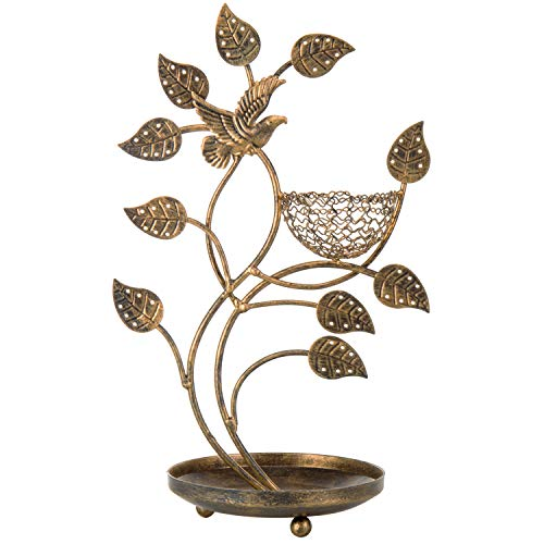 MyGift 14-Inch Bronze-Tone Tree & Bird Earring Stand with Ring Tray (Bird Bronze)