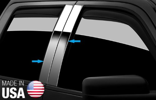 Made in USA! Works with 1998-2011 Lincoln Town Car 4PC Stainless Steel Chrome Pillar Post Trim ()