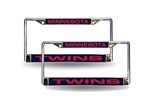 Minnesota Twins Laser - Rico Minnesota Twins MLB Chrome Metal (2) Laser Cut License Plate Frame Set