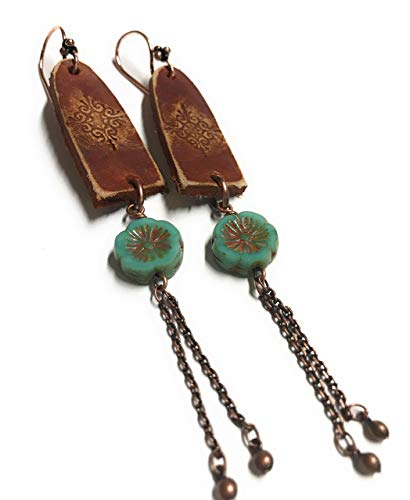 (Boho Leather Long Stamped Scroll & Turquoise Flower Copper Earrings Jewelry Gift Ideas for Women GIrls)