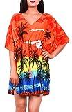 Virgin Crafts Women's Trim Kaftan Hawaiian Print Swimwear Beach Cover