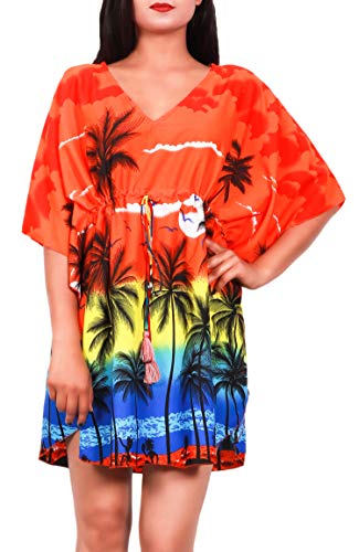 Virgin Crafts Women's Trim Kaftan Hawaiian Print Swimwear Beach Cover by Virgin Crafts