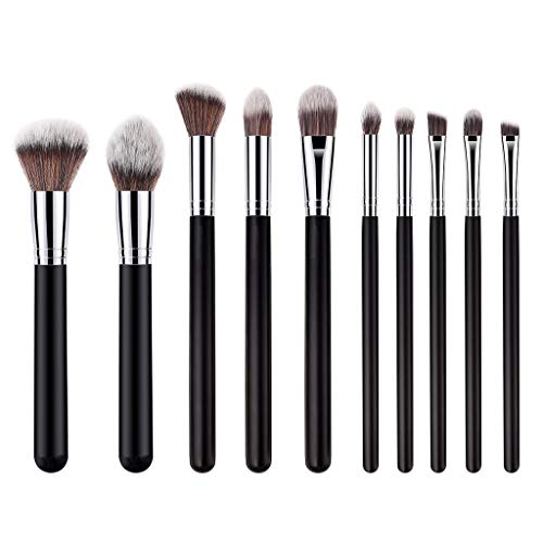 (Makeup Brushes Set, Yikey Loose Powder Makeup Brush Flat Top Kabuki for Face - Perfect For Blending Liquid, Cream or Flawless Powder Cosmetics - Buffing, Stippling, Concealer - Premium Quality 10Pcs)