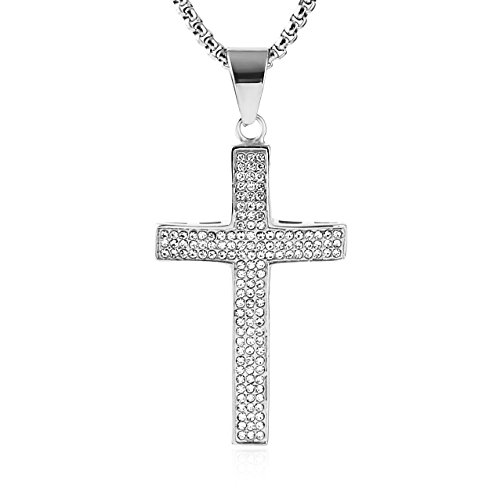 HZMAN Mens Iced Out Cross Cz Inlay Pendant 18k Gold Plated Stainless Steel Hip-Hop Necklace 24