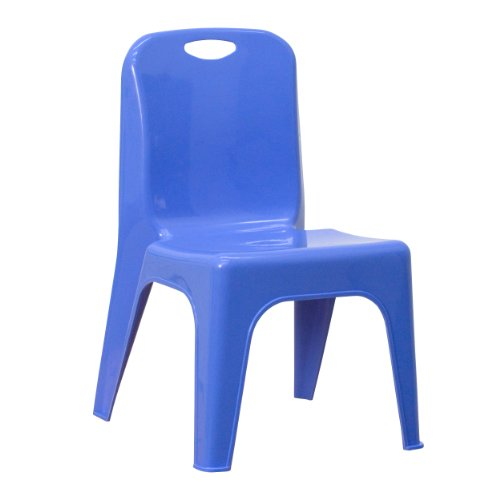 Plastic Stackable School Chair with Carrying Handle and 11'' Seat Height Blue by Flash Furniture