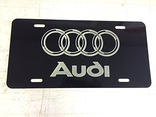 Diamond Etched Audi Logo Car Tag on Black Aluminum License ()