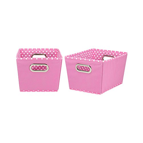 Tapered Storage Basket - Household Essentials 72-1 Small Tapered Decorative Storage Bins | 2 Pack Set Cubby Baskets | Pink and White Mini-Dots