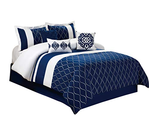 - HIG 7 Piece Comforter Set King- Navy Color Wave Shape Pattern Embroidered-Malibu Bed in A Bag Set King-Soft, Hypoallergenic,Fade Resistant-Include 1 Comforter,2 Shams,3 Decorative Pillows,1 Bedskirt