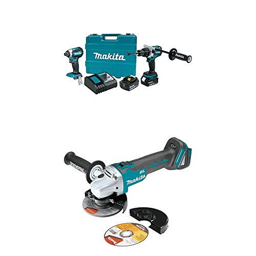 """Makita XT267T 18V LXT Lithium-Ion Brushless Cordless 2-Pc. Combo Kit (5.0Ah) with XAG04Z 18V LXT Lithium-Ion Brushless Cordless 4-1/2"""" / 5 Cut-Off/Angle Grinder"""