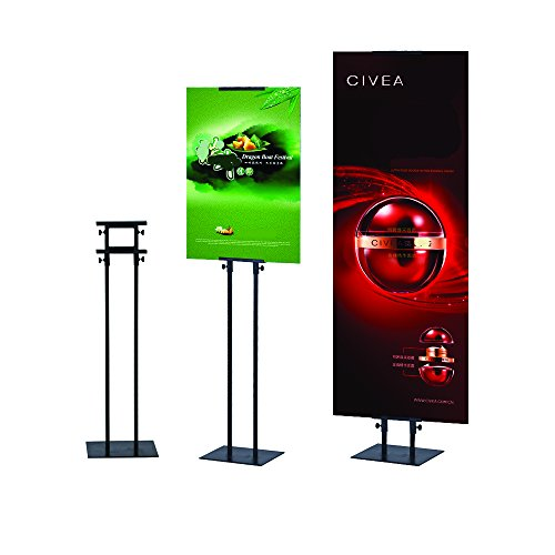 Poster Board Stand (HUAZI sign holder for board sign,height adjustable up to 75inches,popular poster stand,black color,double-sided (Stand))