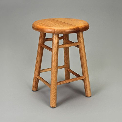 Diversified Woodcraft 5018K Oak Wood Stool with Square Post Legs, 14
