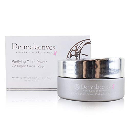 Dermalactives Purifying Triple Power Collagen Facial Peel - Eliminate Clogged Pores and Improve Elasticity Using Protein Rich Collagen and Elastin