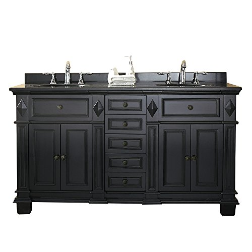 Ove Decors Essex 60 Vanity In Antique Black with Black Granite Vanity Top & White Basin