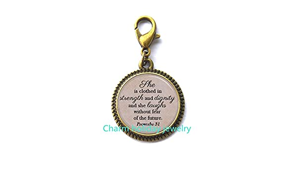 She is Clothed in Strength and Dignity and Laughs Without Fear of the Future Proverbs Bracelet,Quote Jewelry Gift For Daughter Jewelry.D0062