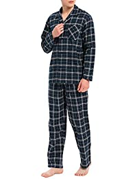 Men's Flannel Pajama Set Soft Cotton Button-Down Sleepwear with Fly PJ Set Lounge Wear