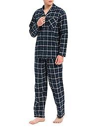 DAVID ARCHY Men's Button Cotton Lounge Sleepwear Cotton Flannel Woven Pajamas Set