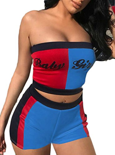 X-Future Women Bandeau Two-Tone Outfits Crop Tops Jumpsuits 2pcs Strapless Sexy Tracksuits Blue - Two Bandeau Tone
