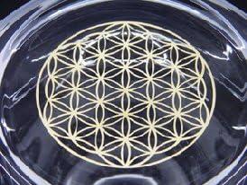 NATURES DESIGN Glass Carafe Golden Aladdin Flower of Life 1.3L Olive Wood