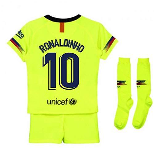 acb4080dc09 UKSoccershop 2018-2019 Barcelona Away Nike Little Boys Mini Kit (Ronaldinho  10)