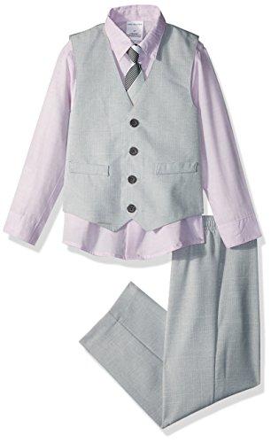 Van Heusen Boys' Little 4-Piece Formal Vest Set, Silver Metal Linen, 5]()