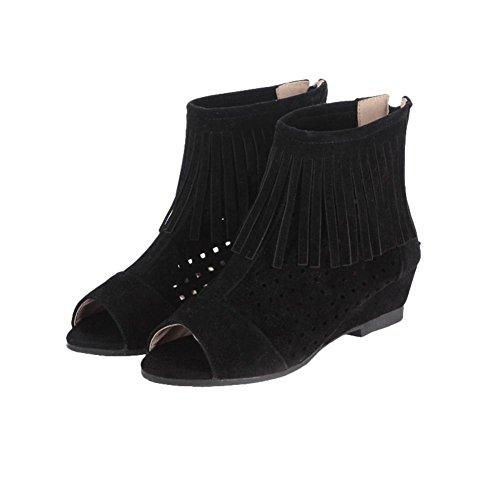 Carolbar Kvinners Zip Dusker Peep Toe Boret Uformell Lav Hæl Kort Sommer Boots Black