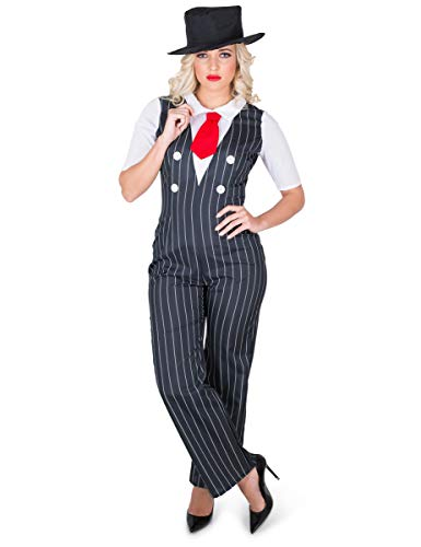 Gangster Boss Women, Pinstripe Suit, Halloween Criminal Costume,