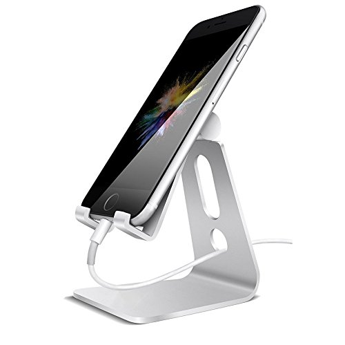 Adjustable Tablet Stand Phone Holder, Aluminum Alloy Cradle Dock Switch Charging For Android Smartphone,IPhone,IPad,Samsung,Desktop,Kindle,E-readers,Accessories Desk,1PC (Silver) by Camphor tree