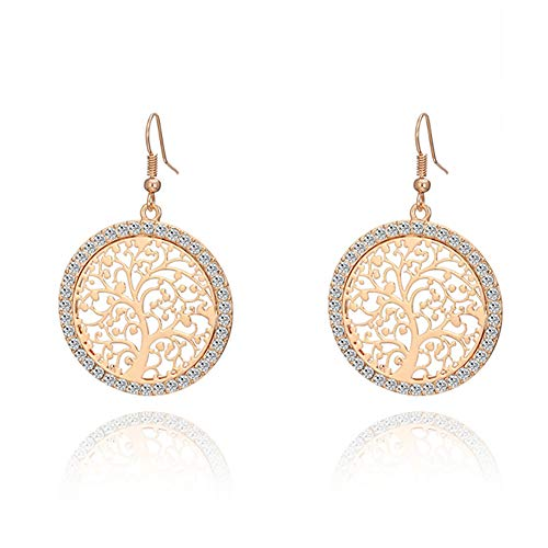 MIXIA Tree of Life Gold Crystal Earrings Women Hollow Out Filigree Tree Pattern Round Drop Earring Jewelry (Gold)