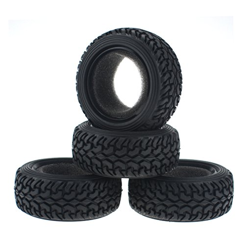 Hobbymarking 4Pcs RC Rally Car 1/10 On-Road Grain Rubber Tyre Tires for RC4WD Traxxas Tamiya HPI Kyosho - Game Rally Rc