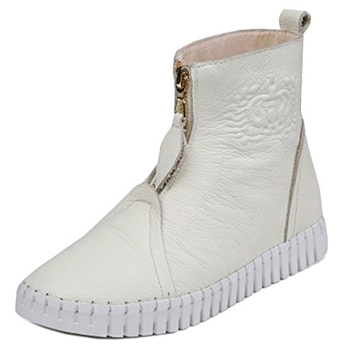 Med Boots Komfort Foran Kvinners Glidelås Flatform Hvit Ankel Coolcept qHXPX7