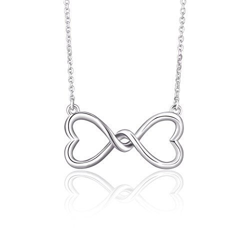 925 Sterling Silver Infinity Love Knot Heart Pendant Necklace, Rolo Chain 18
