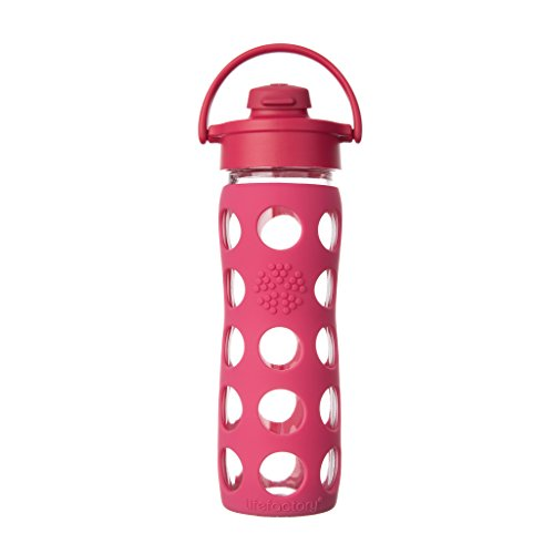 Lifefactory LF224000C4 BPA-Free Glass Flip Cap and Silicone Sleeve Water bottle 16 oz Raspberry