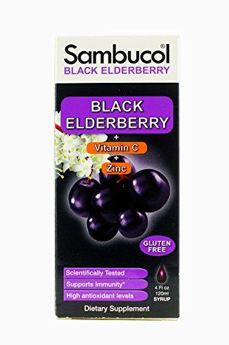 Sambucol Black Elderberry Original Formula + Vitamin C + Zinc Syrup 4 fl oz (120 ml) (Black Elderberry Liquid)