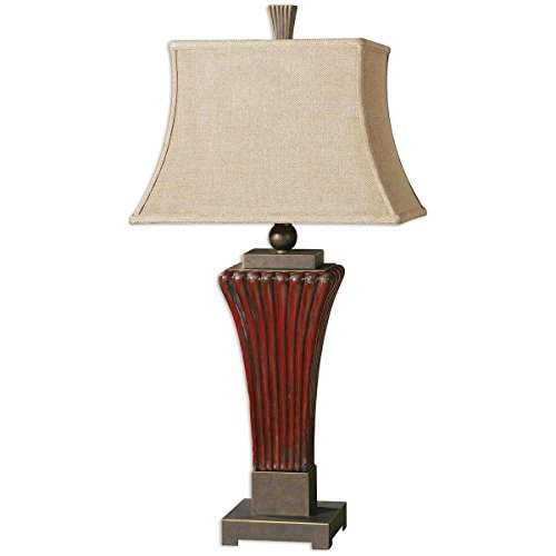 Uttermost 26465 Rosso Ribbed Ceramic Lamp by Uttermost