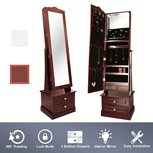ENSTVER Luxury Stand Jewelry Armoire Set,72 LED Jewelry Cabinet with 2 Drawers Rotating Base 17W x 14D x 64H in (Espresso)