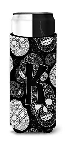 (Letter K Day of the Dead Skulls Black Ultra Beverage Insulators for slim cans CJ2008-KMUK)