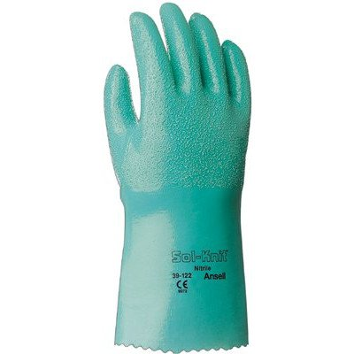 Cotton Ansell Gloves (Ansell 39-122-10 Sol-Knit Nitrile Gloves, Gauntlet Cuff, Interlock Knit Cotton Lined, Size 10, Green (Pack of 12))