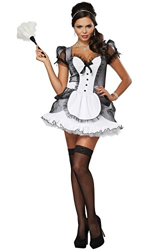 - California Costumes Women's Luxe French Maid Sexy Dress Costume, White/Black, X-Small