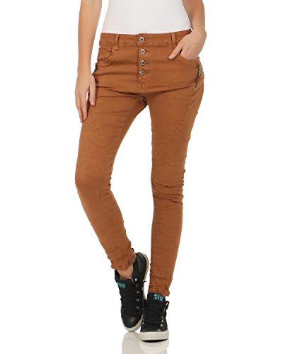 Denim Chino lave Baggy Pants Jeans hipsters boutonnage utilise de patte boyfriend Marrom Stretch Jewelly L1808 Pantalon avec 1npxnF