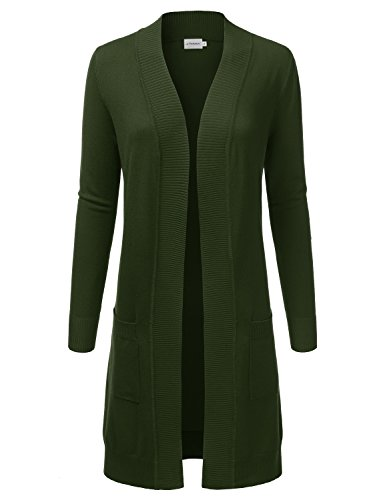 JJ Perfection Womens Light Weight Long Sleeve Open Front Long Cardigan Olive M